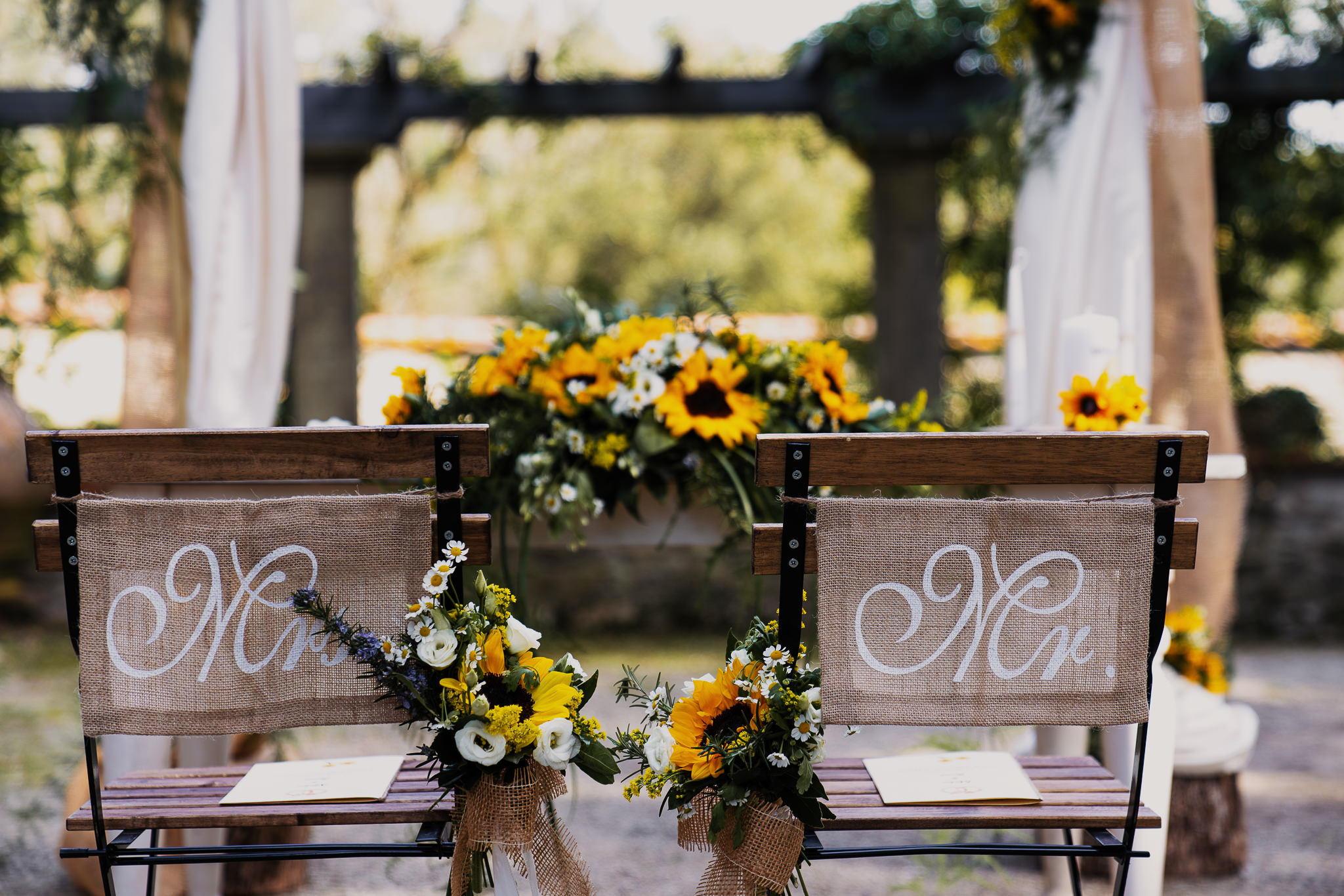 Cerimonia girasoli matrimonio Mugello