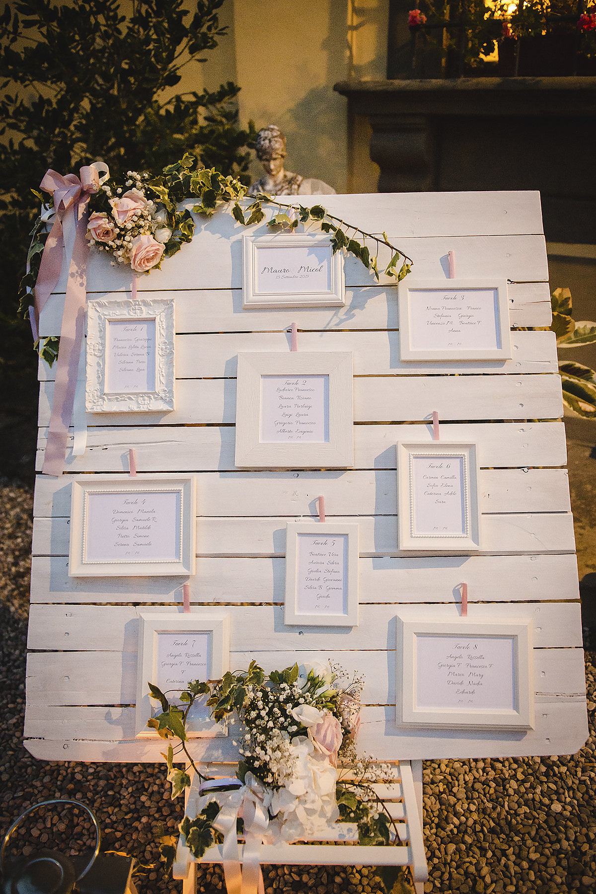 Tableau de mariage e segnatavoli con cornici